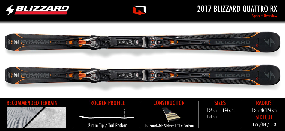 2017 Blizzard Quattro RX Ski Review: Ski Specification Chart