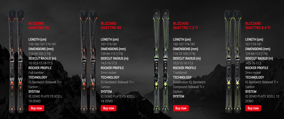 Quattro, Carbon, and Carving: Previewing the 2017 Blizzard Skis Lineup: Unisex Quattro Skis 1