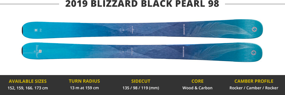 Which Skis Should I Buy? Comparing Women's 100mm Skis - 2019 Edition: 2019 Blizzard Black Pearl 98 Ski Image