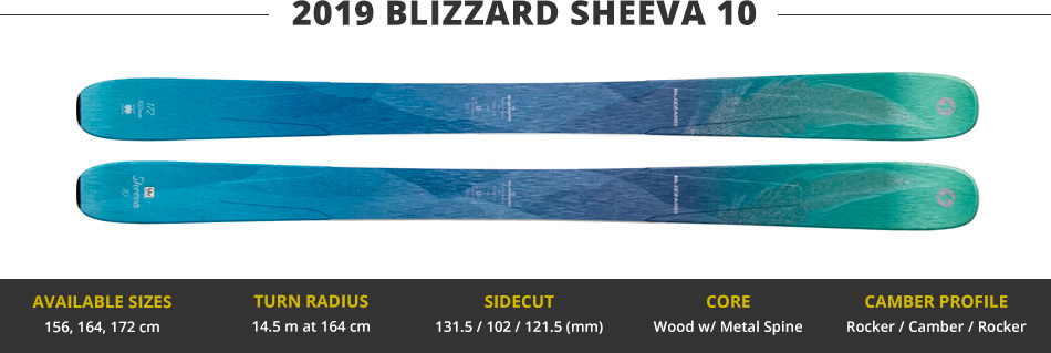 Which Skis Should I Buy? Comparing Women's 100mm Skis - 2019 Edition: 2019 Blizzard Sheeva 10 Ski Image