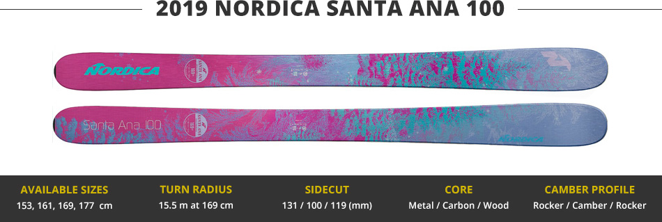 Which Skis Should I Buy? Comparing Women's 100mm Skis - 2019 Edition: 2019 Nordica Santa Ana 100 Ski Image