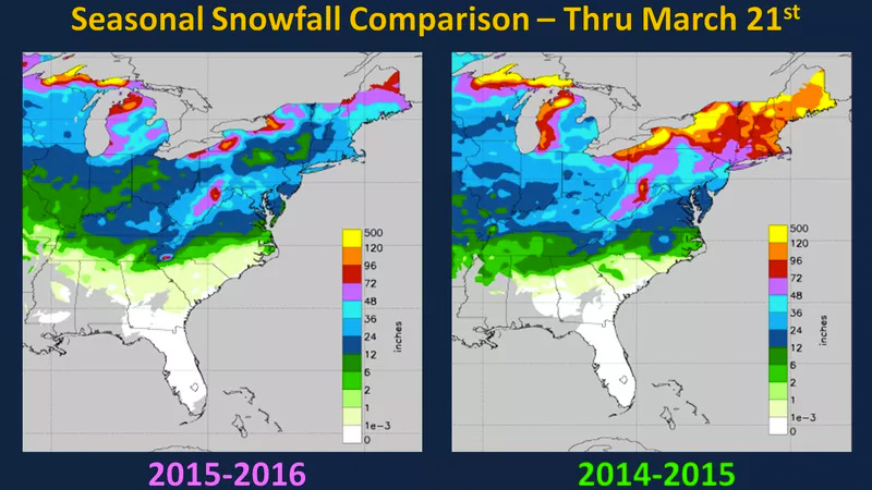 Top Five Fridays May 27, 2016: East Coast Snow Total Comparison