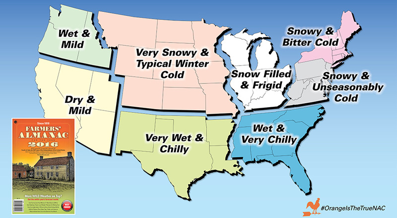 Top Five Fridays September 4, 2015: Farmer's Almanac Winter 2015 / 2016 Winter Predictions for the United States